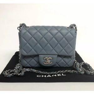 RARE Chanel Square  Flap Bag  Blue